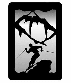 Skier Small Accent Mirror Wall Art