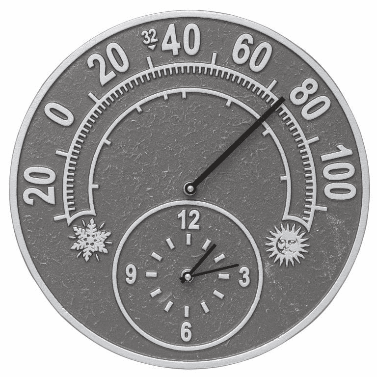 Solstice 14 inches Indoor Outdoor Wall Clock & Thermometer - Pewter and Silver