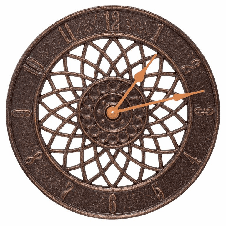 Spiral 14 inches Indoor Outdoor Wall Clock - Antique Copper