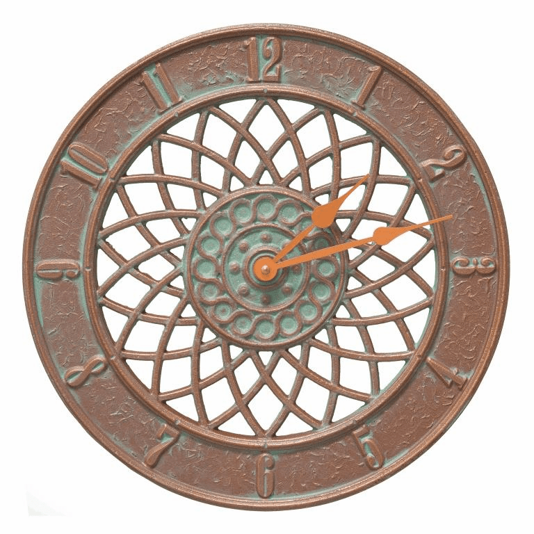 Spiral 14 inches Indoor Outdoor Wall Clock - Copper Verdigris