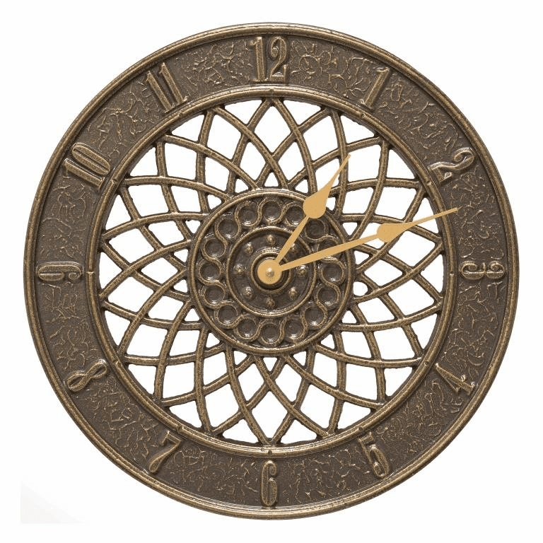 Spiral 14 inches Indoor Outdoor Wall Clock - French Bronze