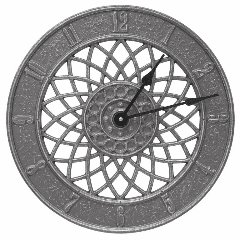 Spiral 14 inches Indoor Outdoor Wall Clock - Pewter and Silver