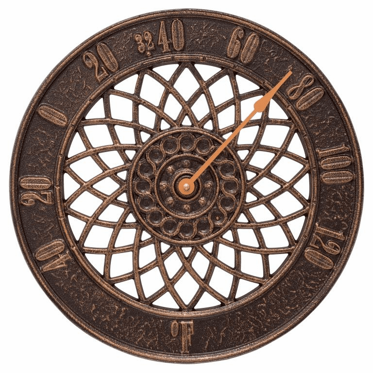 Spiral 14 inches Indoor Outdoor Wall Thermometer - Antique Copper