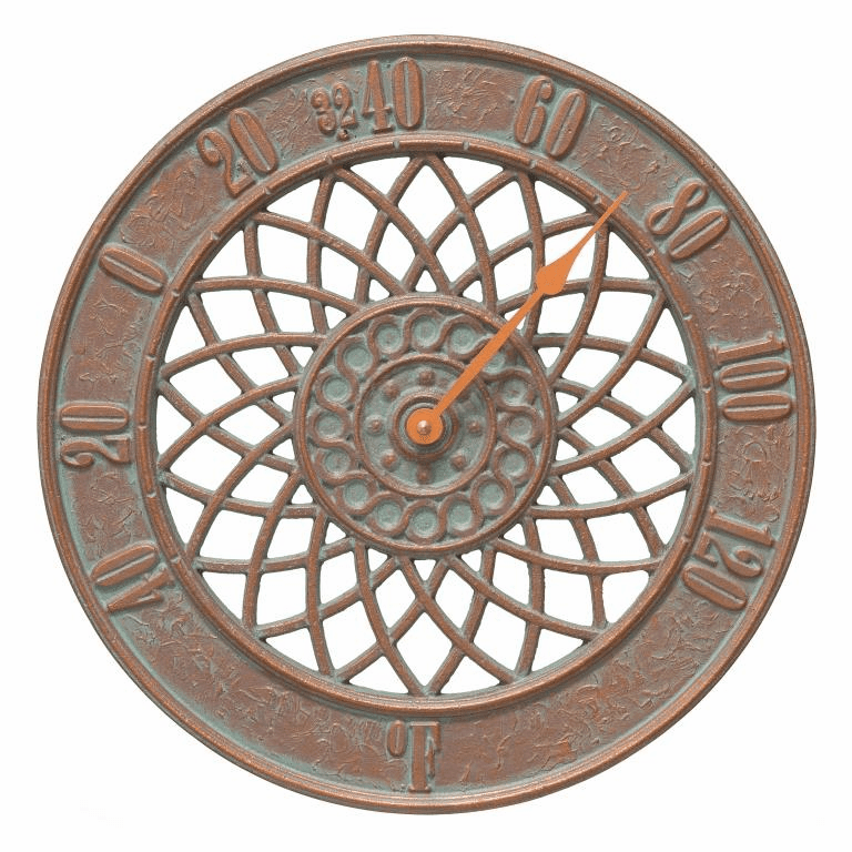 Spiral 14 inches Indoor Outdoor Wall Thermometer - Copper Verdigris