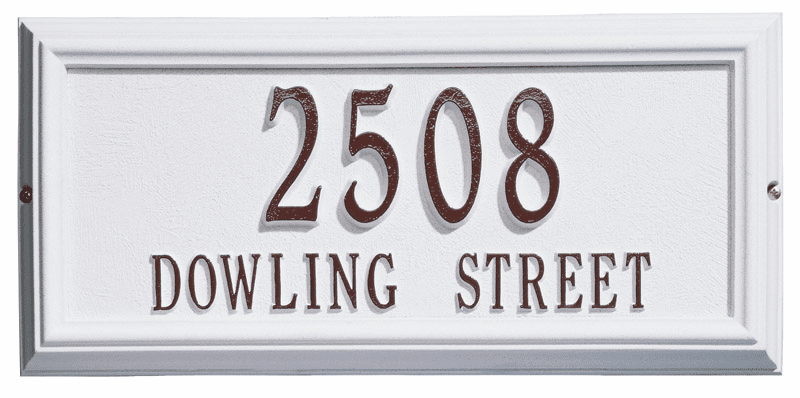Springfield Rectangle House Number & Street Name Plaque - Address Plate