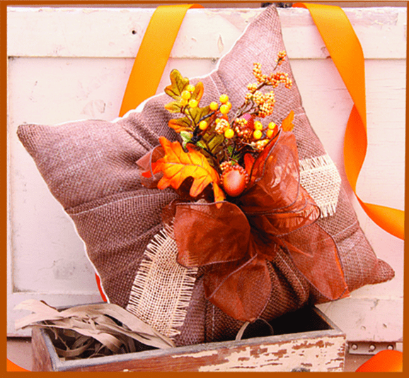 Square Ribboned Thanksgiving Pillow, 14in x 14in