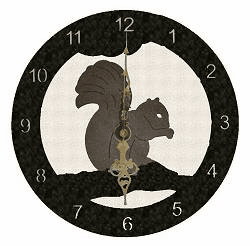 Squirrel Smooth Edge Rustic Clock