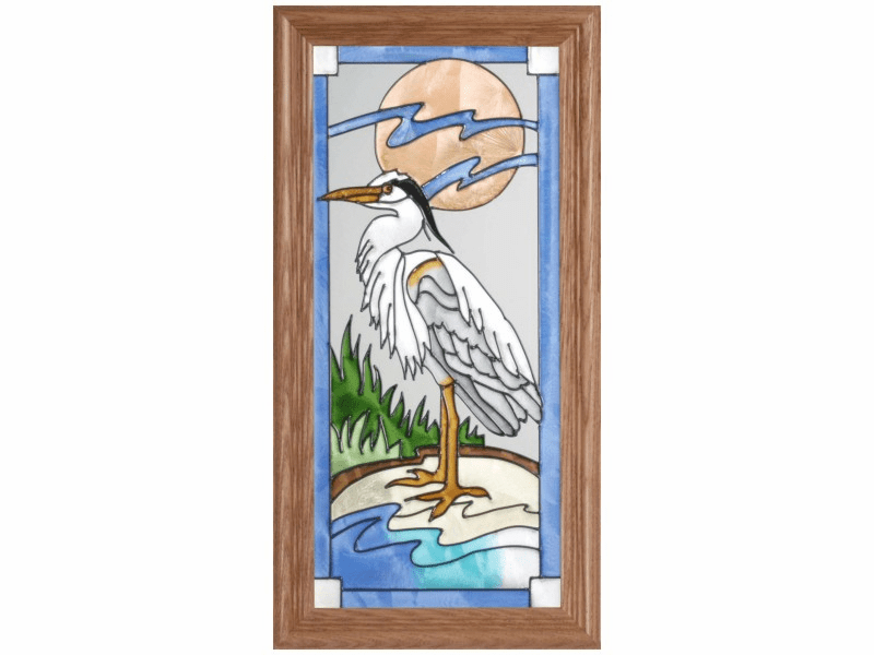 Standing Blue Heron Stained Glass Art Glass