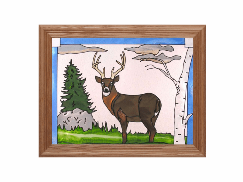 Standing Deer (Buck) Stained Glass Art Glass