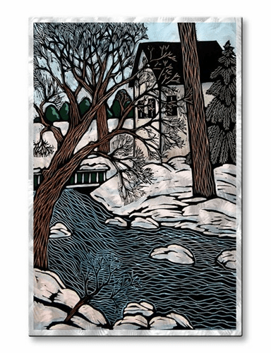 Stream in Winter Metal Wall Hanging
