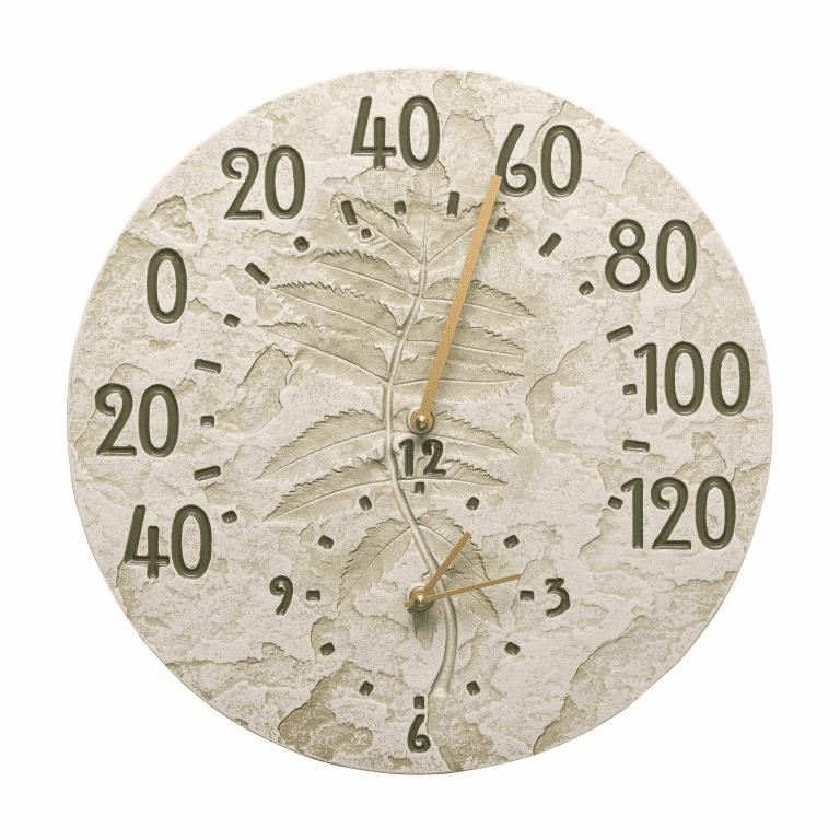 Sumac 14 inches Indoor Outdoor Wall Clock & Thermometer - Moss Green
