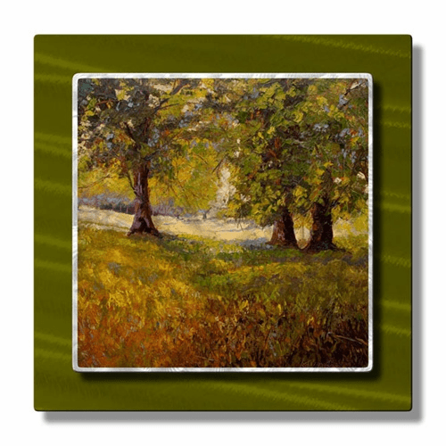 Summer Shadow With 3 Trees Metal Wall Hanging