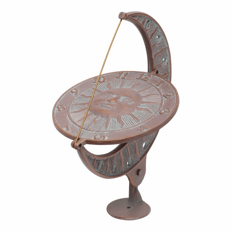 Sun And Moon Sundial - Copper Verdigris