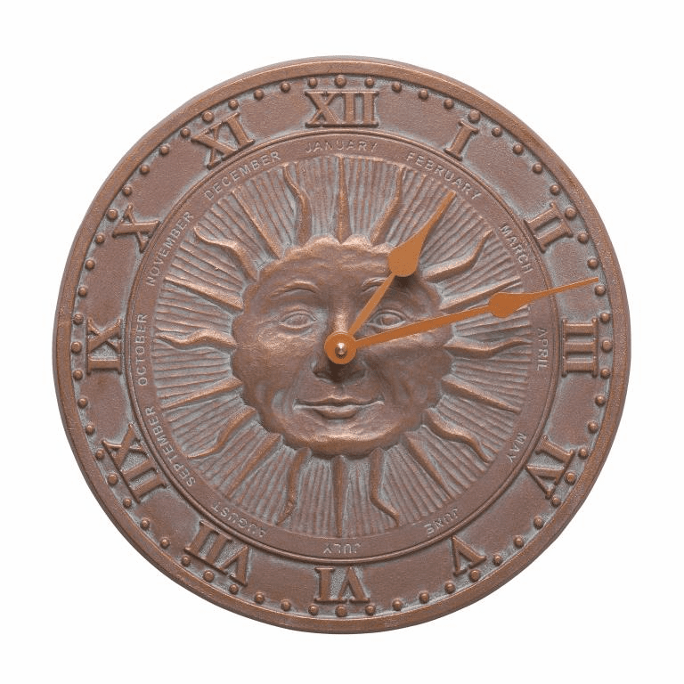 Sunface 12 inches Indoor Outdoor Wall Clock - Copper Verdigris