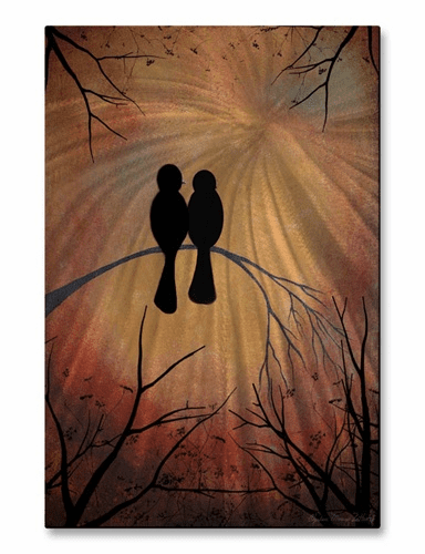 Sunset Lovebirds Metal Wall Hanging