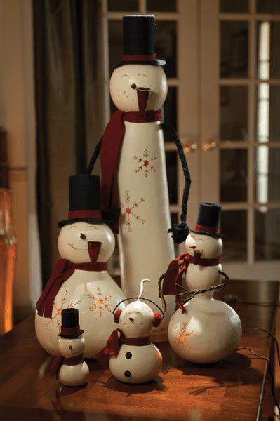 Tall Snowman, Gourd Style, with Light