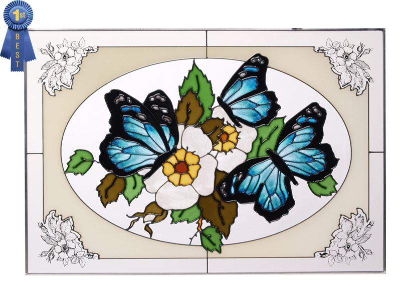 The Beauty of Butterflies II Stained Glass Art Glass