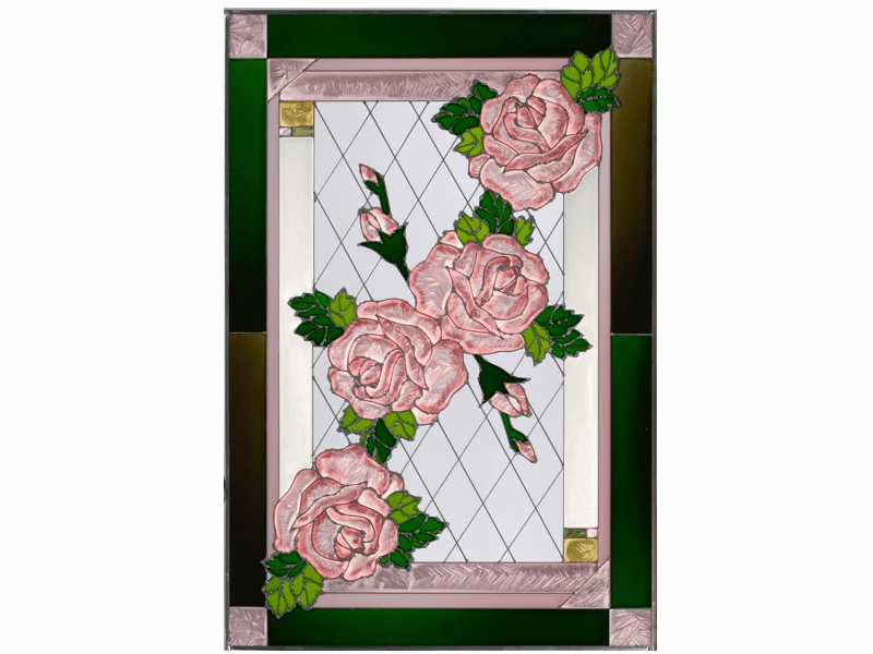 The Beauty of Roses Stained Glass Art Glass