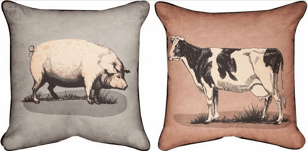 The Shed Cow Pig Reversible Pillow