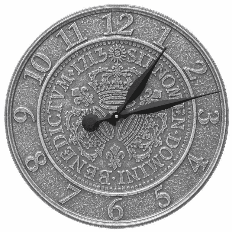 Three Crowns In Coin 16 inches Indoor Outdoor Wall Clock - Pewter and Silver