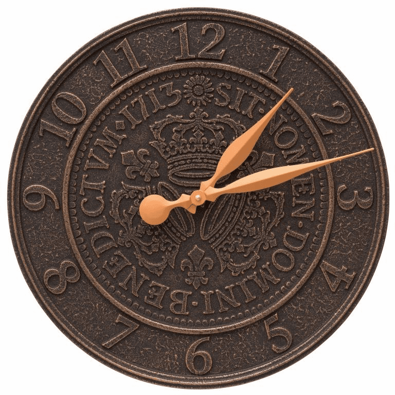 Three Crowns In Coin 16 inches Personalized Indoor Outdoor Wall Clock - Oil Rubbed Bronze