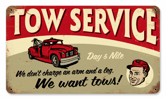 Tow Service Sign - Rustic Looking Service Sign