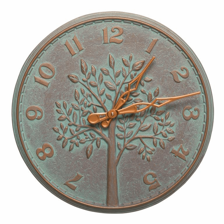 Tree of Life 16 inches Indoor Outdoor Wall Clock - Copper Verdigris