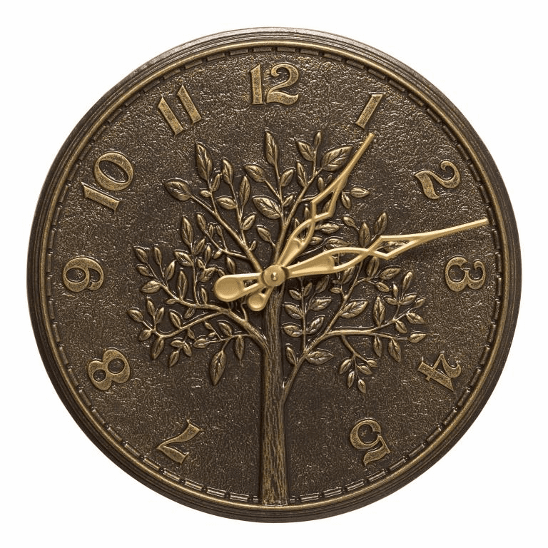 Tree of Life 16 inches Indoor Outdoor Wall Clock - French Bronze