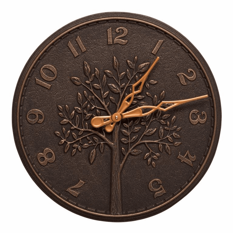 Tree of Life 16 inches Indoor Outdoor Wall Clock - Oil Rubbed Bronze
