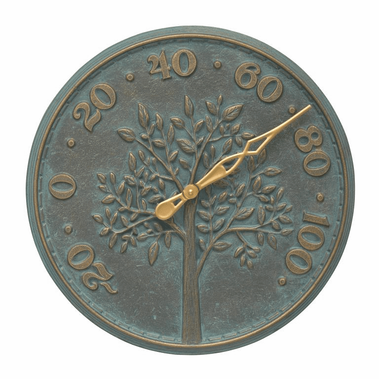 Tree of Life 16 inches Indoor Outdoor Wall Thermometer - Bronze Verdigris