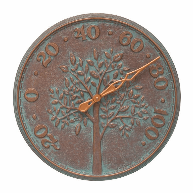 Tree of Life 16 inches Indoor Outdoor Wall Thermometer - Copper Verdigris