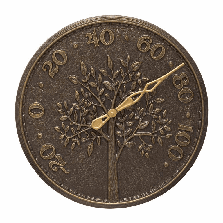 Tree of Life 16 inches Indoor Outdoor Wall Thermometer - French Bronze