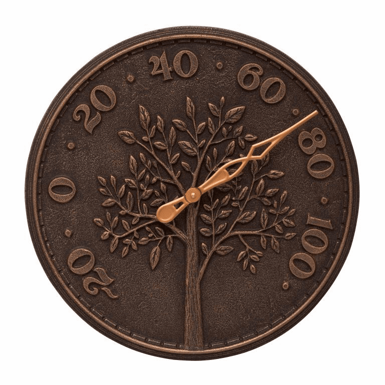 Tree of Life 16 inches Indoor Outdoor Wall Thermometer - Oil Rubbed Bronze