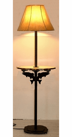 Trout Rustic Floor Lamp With Shelf