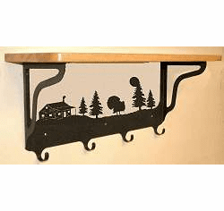 Turkey and Cabin Coat Hook with Shelf