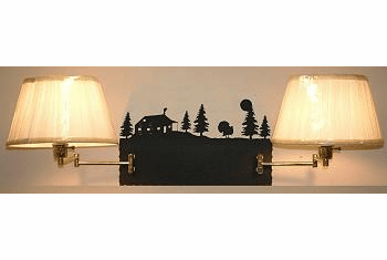 Turkey and Cabin Double Swing Arm Wall Lamp