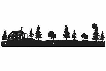 Turkey and Cabin Rustic Scenery Wall Art - 3 sizes