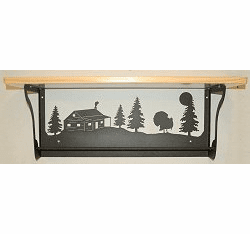 Turkey and Cabin Rustic Towel Bar with Shelf