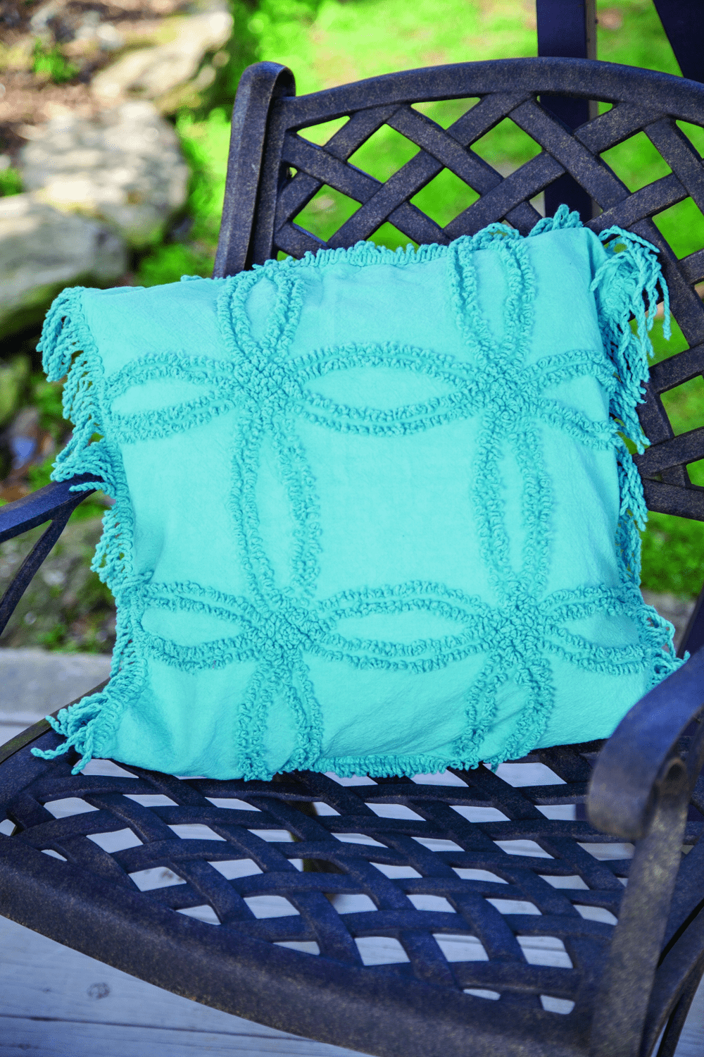 Turquoise Vintage Tufted Cotton Pillow