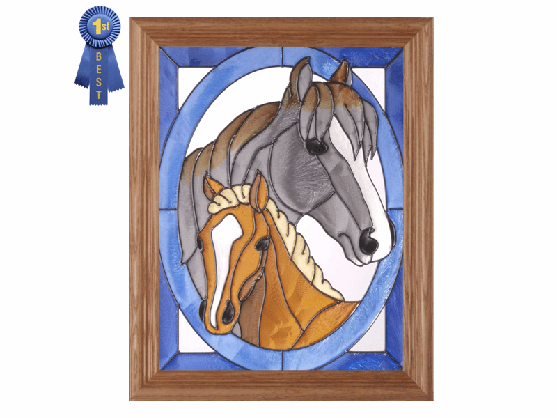 Two Horse Portrait Stained Glass Art Glass