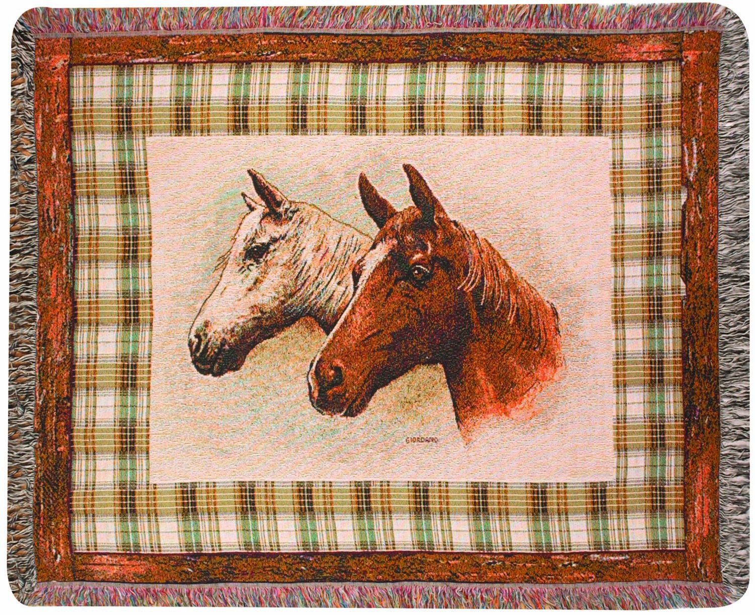 Two Horses Tapestry Throw