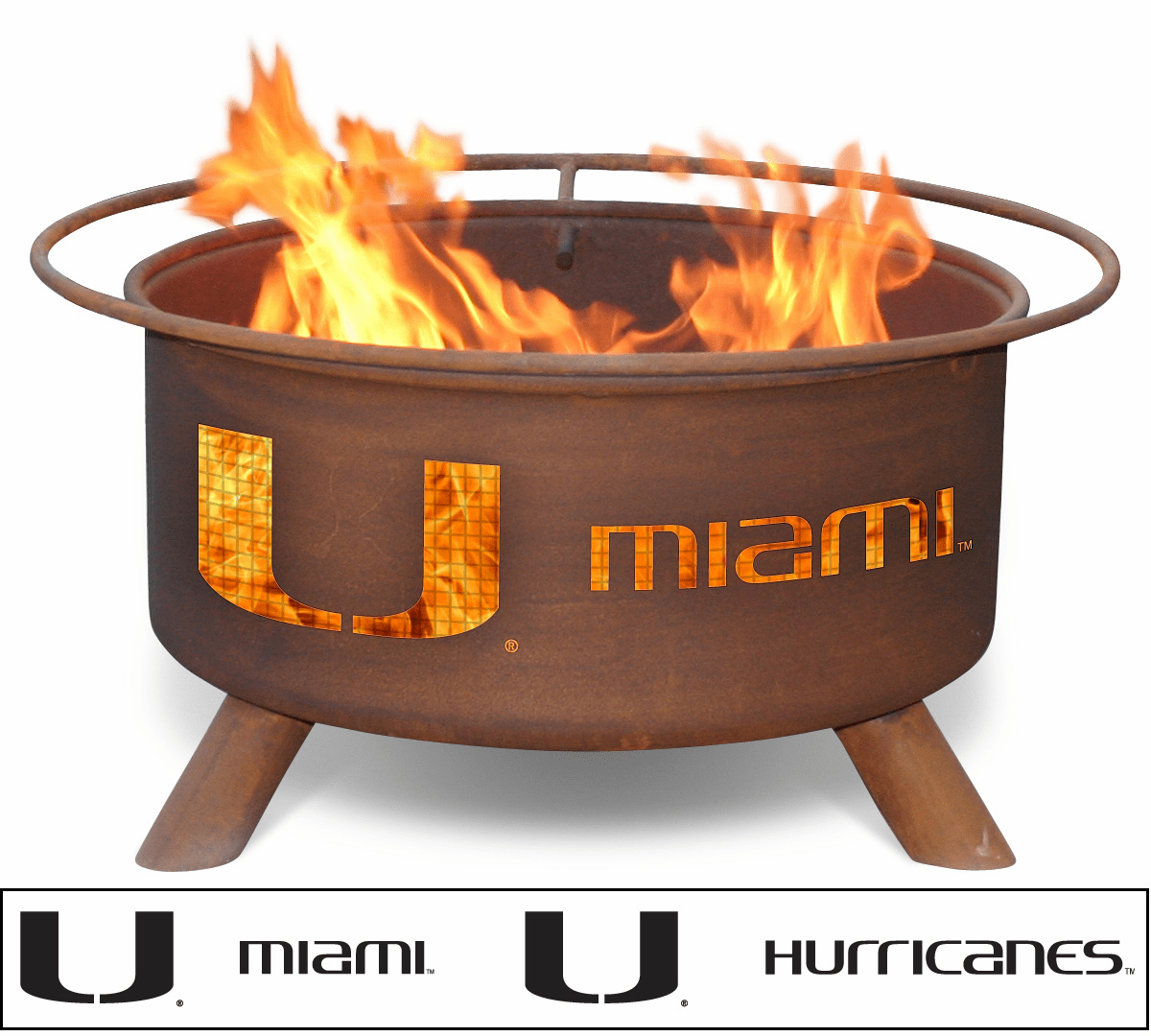 University of Miami Hurricanes Fire Pit - 'Canes Logo Ring