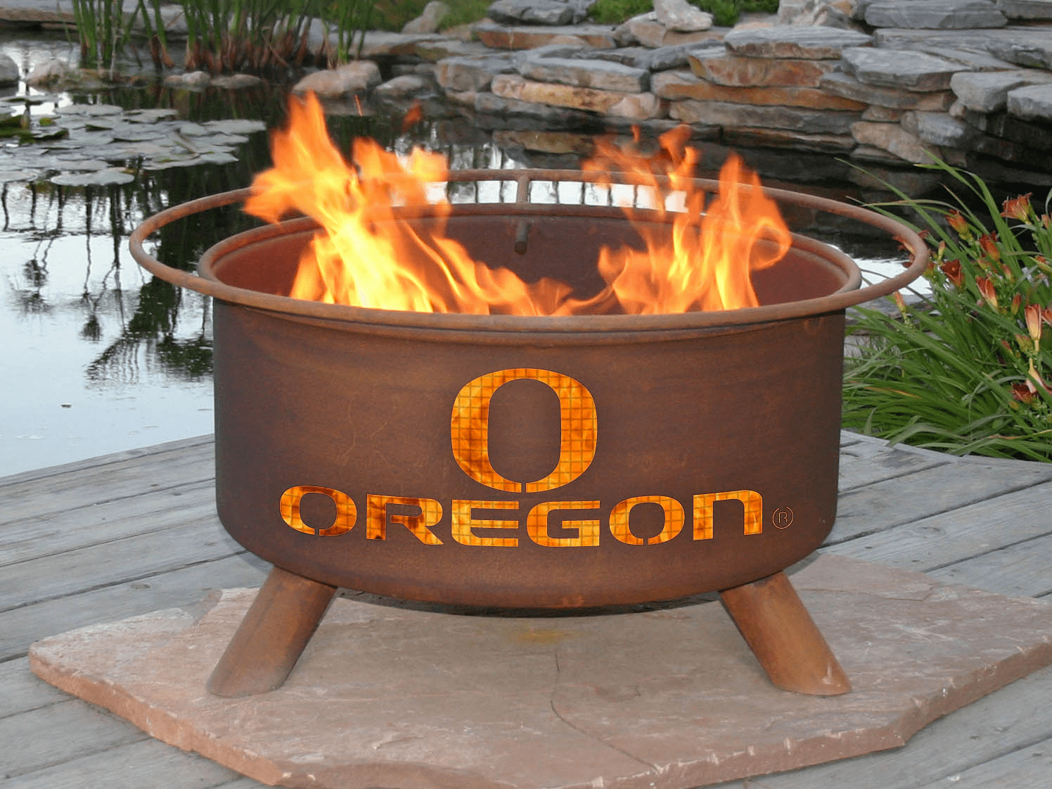 University of Oregon Ducks Logo Fire Pit Ring
