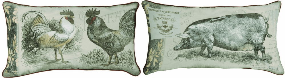 Urban Farmhouse Rooster/Pig Pillow