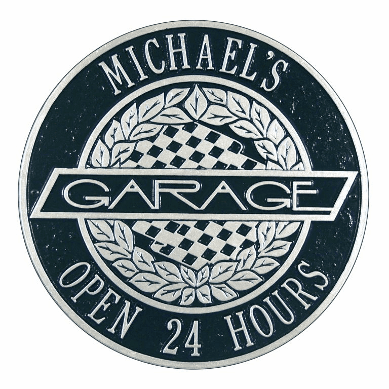 Victory Lane Garage Standard Wall Two Line Plaque in Black and Silver