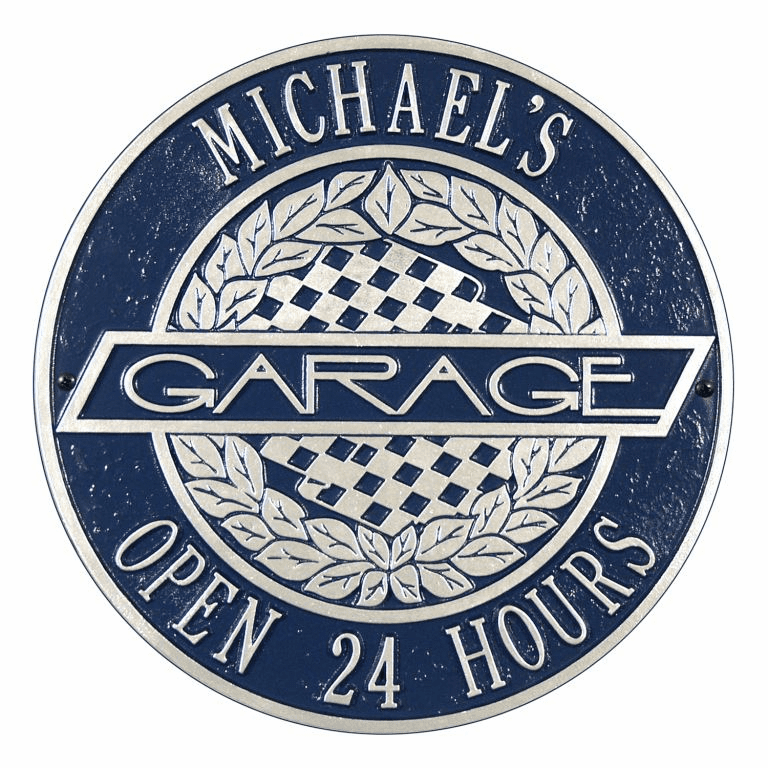 Victory Lane Garage Standard Wall Two Line Plaque in Dark Blue and Silver