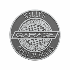 Victory Lane Garage Standard Wall Two Line Plaque in Pewter and Silver