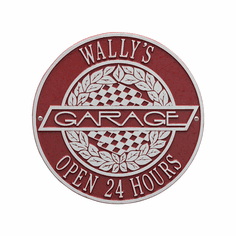 Victory Lane Garage Standard Wall Two Line Plaque in Red and Silver
