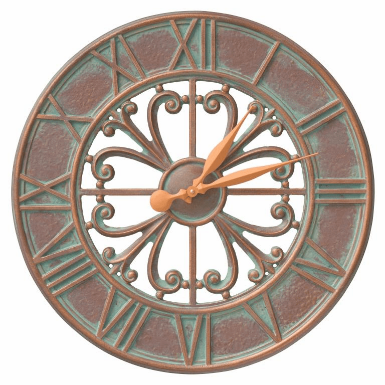 Villanova 21 inches Indoor Outdoor Wall Clock - Copper Verdigris