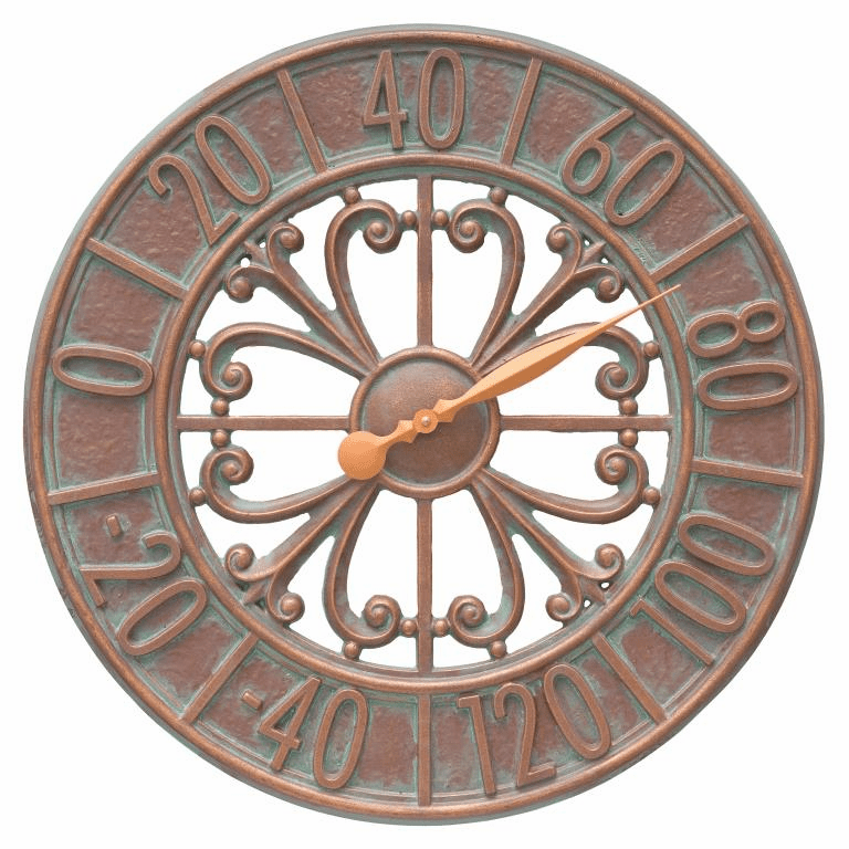 Villanova 21 inches Indoor Outdoor Wall Thermometer - Copper Verdigris